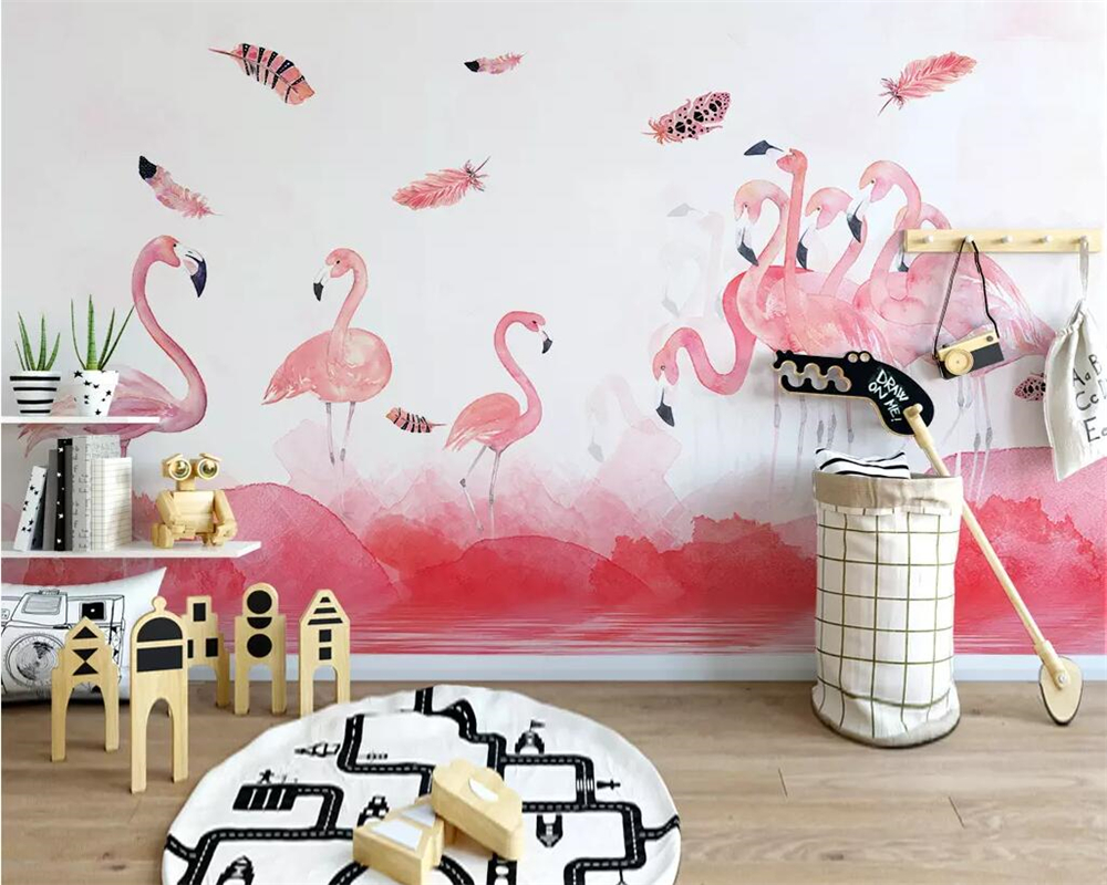 Behang Babykamer Romantisch : Goede koop beibehang eenvoudige handgeschilderde flamingo veer