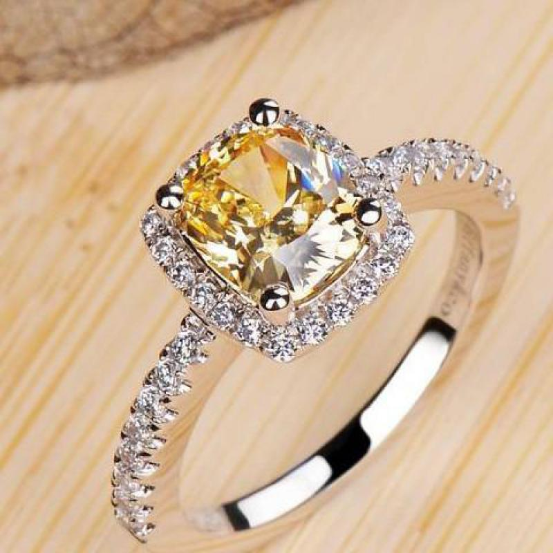square 2 carat imitation diamonds engagement ring princess cut halo wedding rings for women aaa grade - Square Cut Wedding Rings