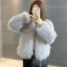UPPIN меховая жилетка куртка женская Роскошные пальто из искусственного меха для Для женщин зимние теплые модные с длинным рукавом поддельные Silver Fox меховой Для женщин пальто большой Размеры розовый Меховая куртка