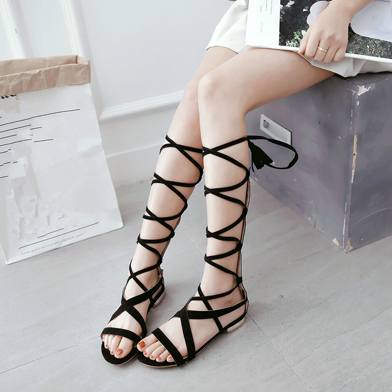 0c881d0090bb Womens Large Rome 2018 Flat High Brown Gladiator Black Size Lady Cross Sandals  Shoes Tassel Sandals ...
