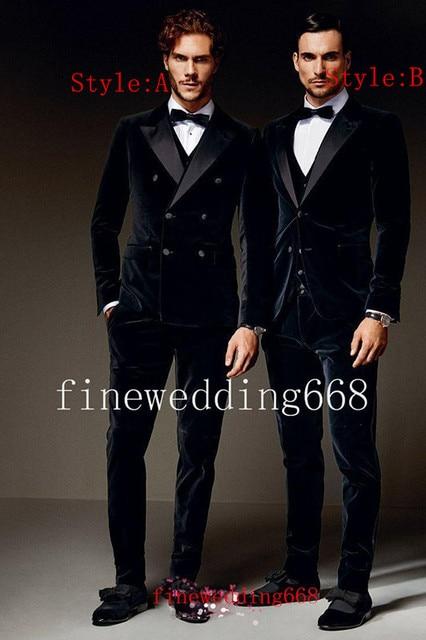 Double-Breasted Velvet Groom Tuxedos Groomsmen Men's Wedding Prom Suits Custom Made (Jacket+Pants+Vest+Tie) NO:237
