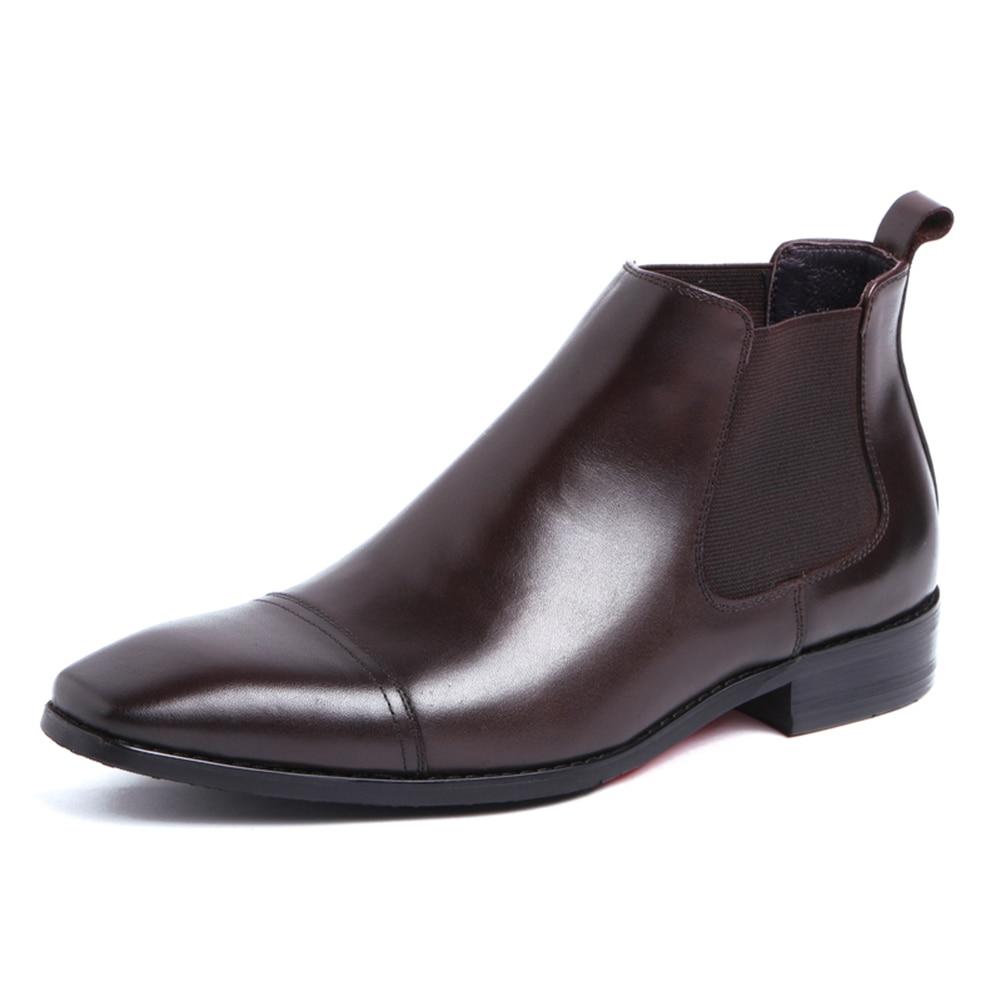 Chakku Véritable Bande Robe Cuir Carré Chaussures Cheville Noir marron Orteil Vache De Élastique Bottes 2018 Chelsea Mariage En Hommes 0PknwO8