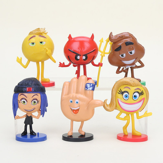 6pcs Set The Emoji Movie Action Figures Cupcake Cake Topper Cartoon Birthday Party Decorations Baking