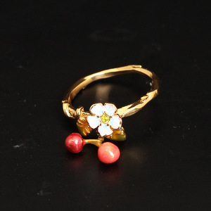 Image 3 - New Arrivals Be Listed Enamel Glaze Small Fresh Flower Cherry Fall Gold Ring Jewelry For Women Gift