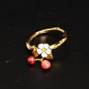 Image 3 - Nova chegada ser listado esmalte pequeno fresco flor cereja queda anel de ouro jóias para presente feminino