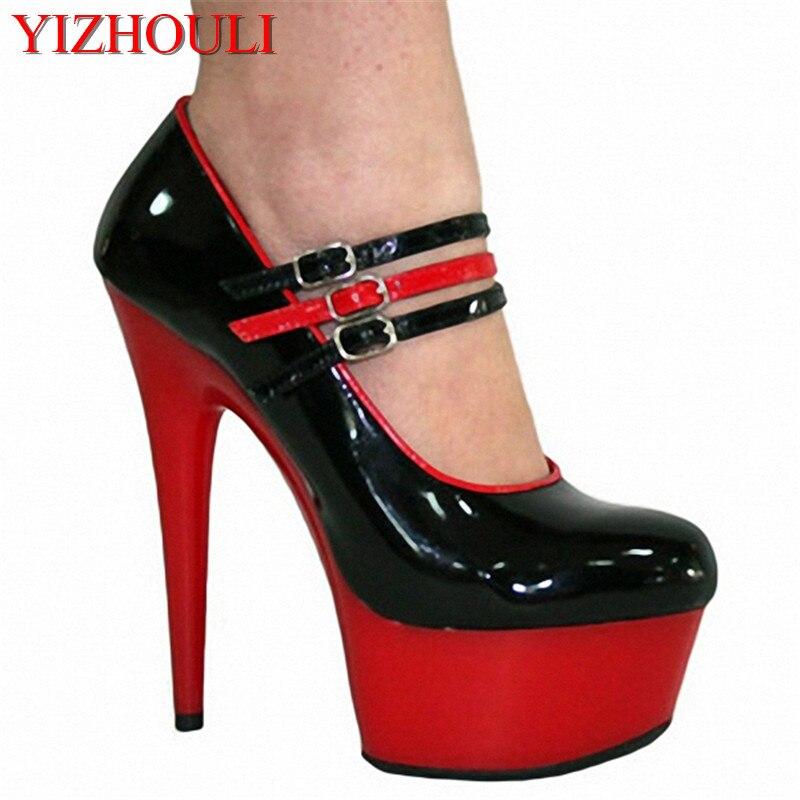 15cm High-Heeled Shoes Platform Red / Black Single Shoes Patent Platform Shoes With 5cm 3/4 Inch Stiletto Heel and Ankle Straps15cm High-Heeled Shoes Platform Red / Black Single Shoes Patent Platform Shoes With 5cm 3/4 Inch Stiletto Heel and Ankle Straps