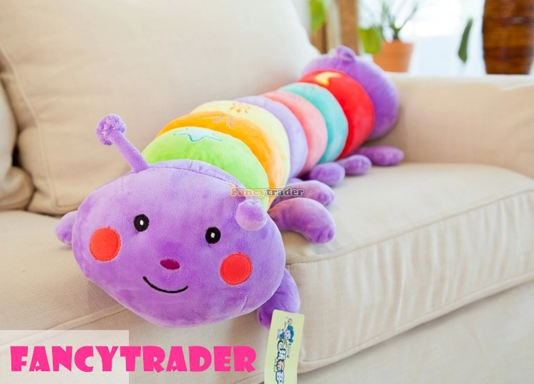 Fancytrader Giant Plush Caterpillar Toy Big Stuffed Long Caterpillar Pillow Pet 140cm 55inch for Kids 1pc Free Shipping fancytrader new style giant plush stuffed kids toys lovely rubber duck 39 100cm yellow rubber duck free shipping ft90122