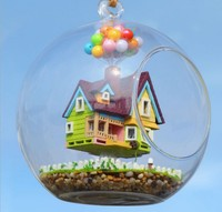 3pcs Flying doll house miniature dollhouse glass diy mini home ball hand housing With LED lights Wholesale