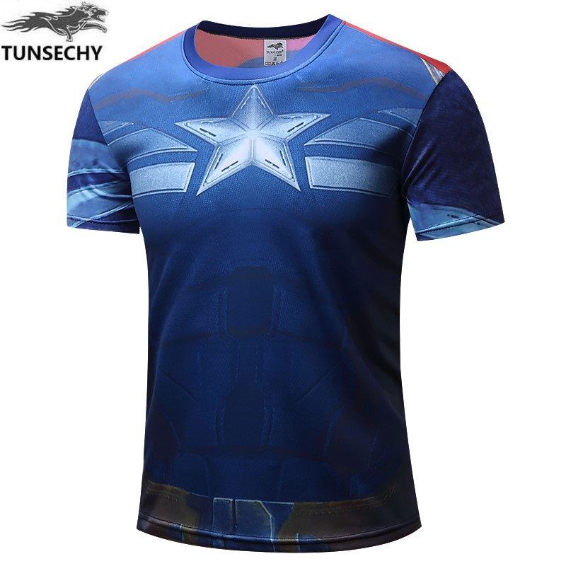 TUNSECHY NEW 2019 Captain America 2 Super Hero Lycra Compression Tights T Shirt Men Fitness Clothing Short Sleeves S-4XL