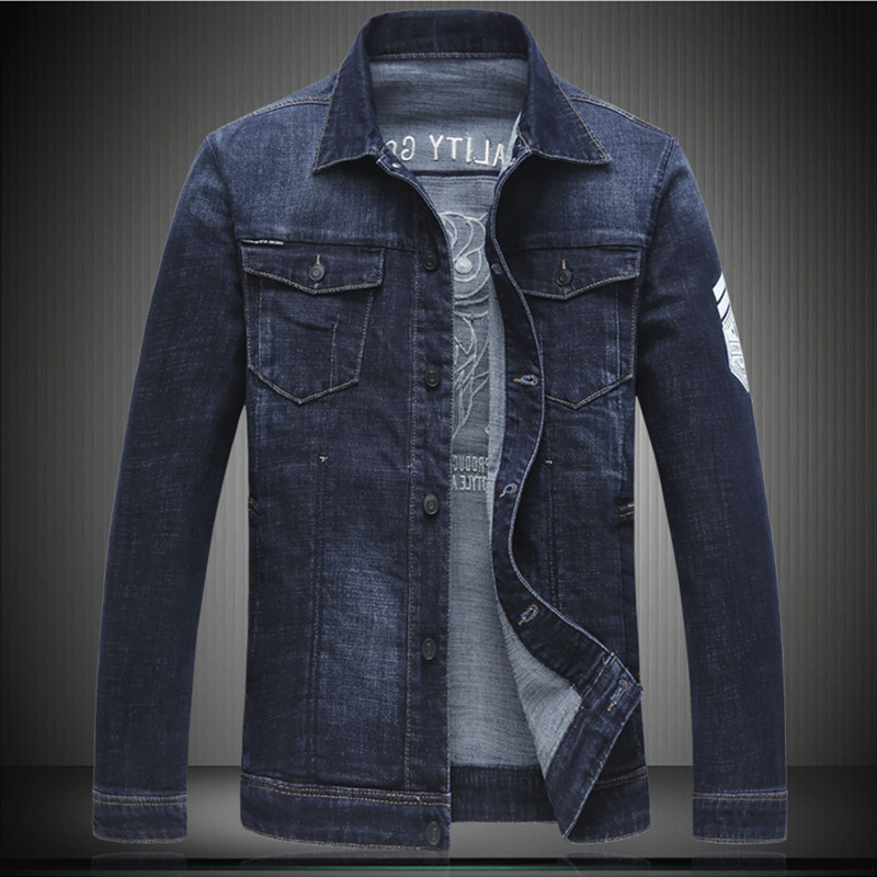 High Quality Men Denim Bomber Jackets 2018 New Arrive Embroidery Design Jean Outerwear Turn-down Collar Coats 5XL 6XL 7111