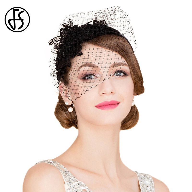 9bfa0329ffc FS Fascinators Royal Black Mesh Gauze Patchwork Women Pillbox Hat With Veil  Banquet Church For Ladies