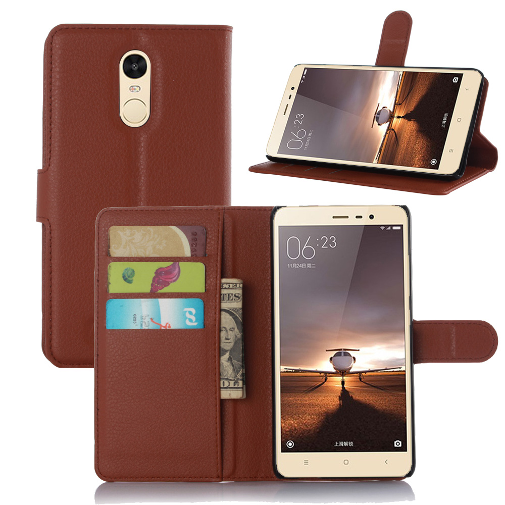 cd6fbd146a9 Note3 Case Luxury Lychee Print PU Leather Case For Xiaomi Redmi Note 3 Flip  Stand Wallet Phone Shell Back Cover With Card Holder