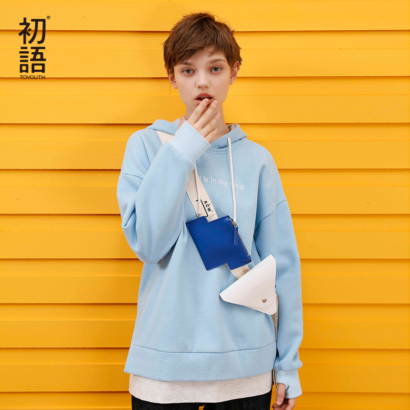 Toyouth Women Streetwear Harajuku Top Patchwork Warm Winter Hoodie  Embroidery Letters Pullover Long Sleeve Cotton Sweatshirts