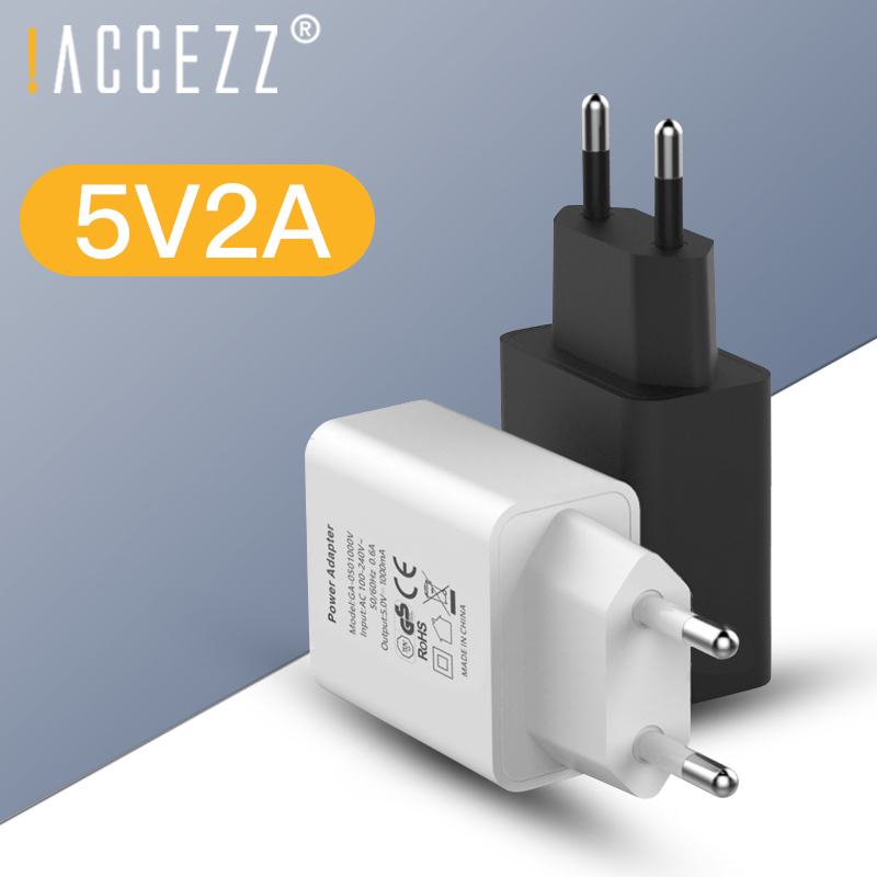 !ACCEZZ USB Phone Charger 5V 2A EU Plug For Iphone IPad Universal For Samsung Huawei Xiaomi 8 Mobile Phone Wall Charger Adapter