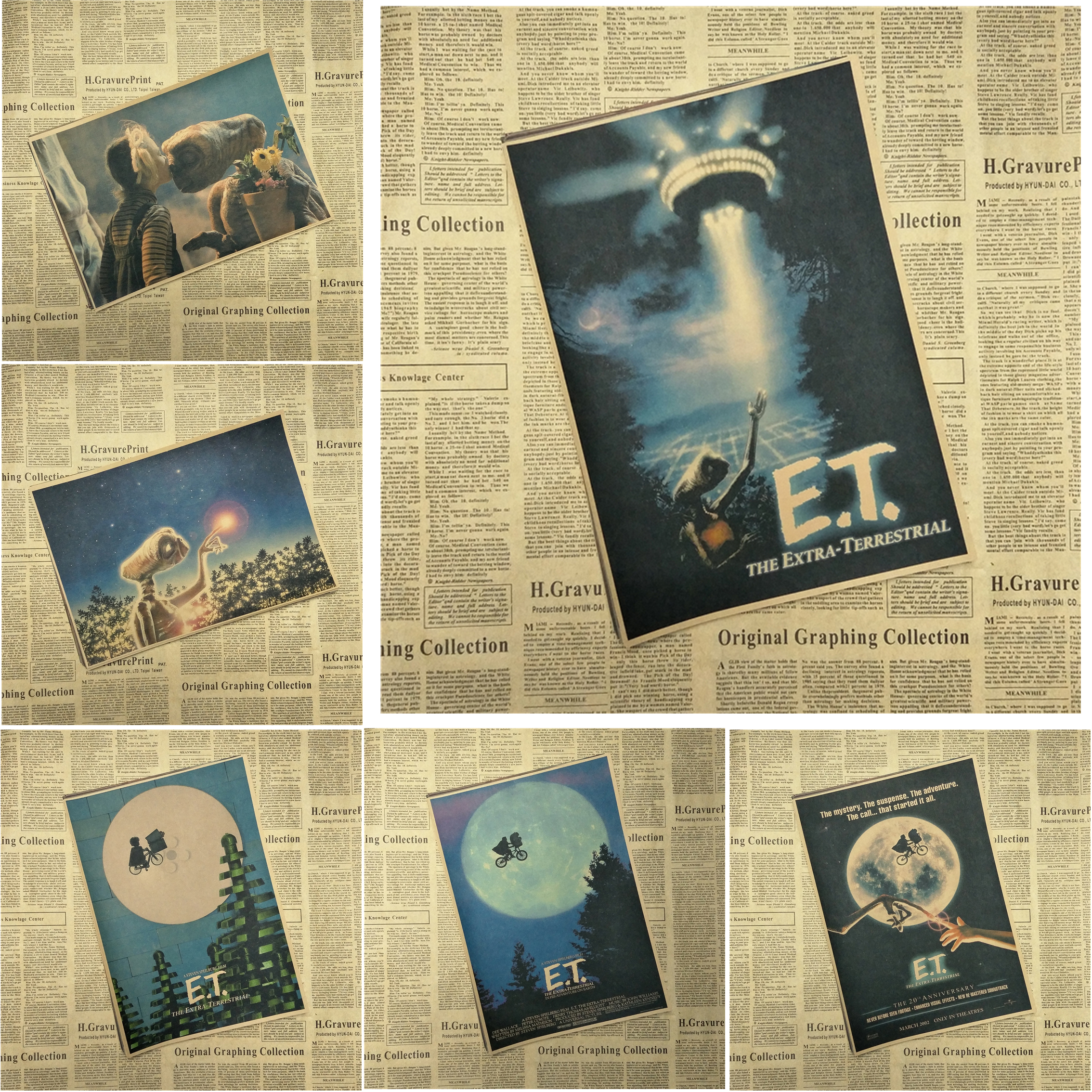 E.T. the Extra-Terrestrial Classic Movie Kraft Paper Poster Bar Cafe Living Room Dining room Wall Decorative Paintings ...