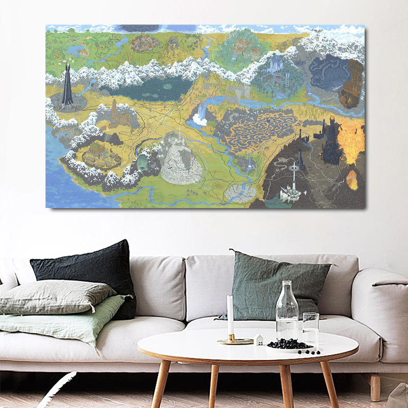 Lord of The Rings Animated Historic Map Canvas Painting Prints Living Room Home Decoration Modern Wall HD Oil Painting Posters image