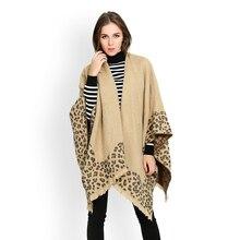 Новые модные женские леопардовые шарфы-пончо, женские кашемировые плащи, шарф, женская зимняя Толстая теплая накидка, шаль, обертывания