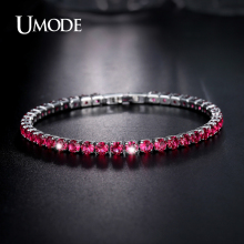UMODE Brand Bracelets For Women Simulated Ruby Diamond Charm Bracelet Hot Christmas Gifts Fashion Jewelry Bijoux Femme AUB0097A