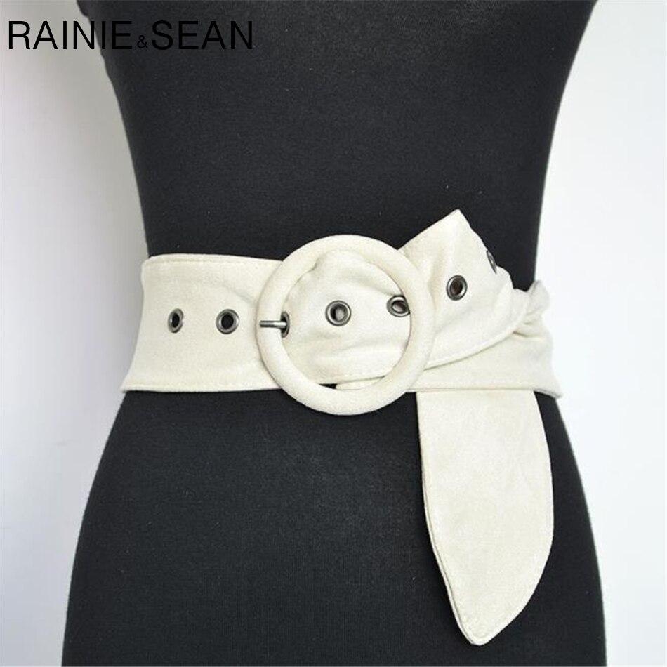RAINIE SEAN Velvet Belts For Women Beige White Black Brown Belts Ladies Suede Wide Waist Belt Strap Autumn Winter Female Corset|Women's Belts| |  - title=