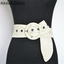 RAINIE SEAN Velvet Belts For Women Beige White Black Brown Ladies Suede Wide Waist Belt Strap Autumn Winter Female Corset