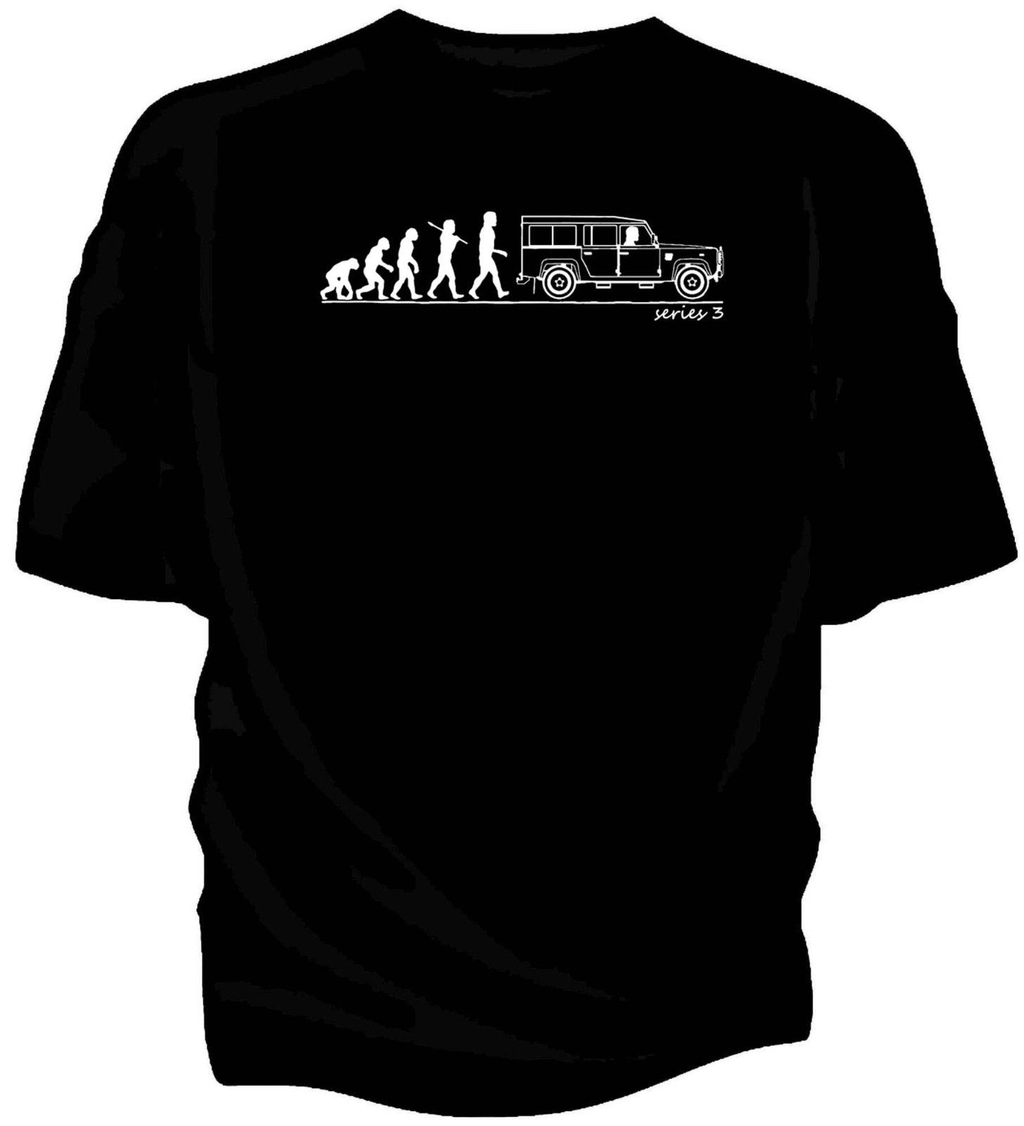 Evolution of Man, Land Rover series 3 LWB classic car t-shirt.