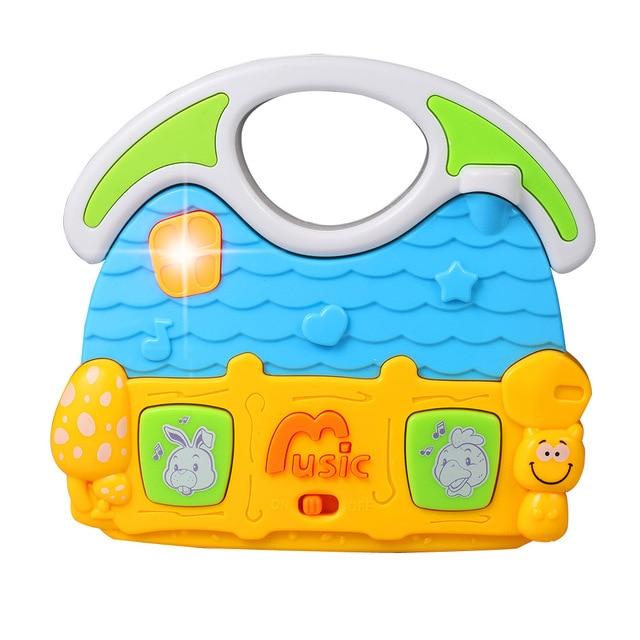 KAWO Cartoon Flashing Led Musical Toys House Shape Early Education Toys for Toddler Boys Girls 12+ Months