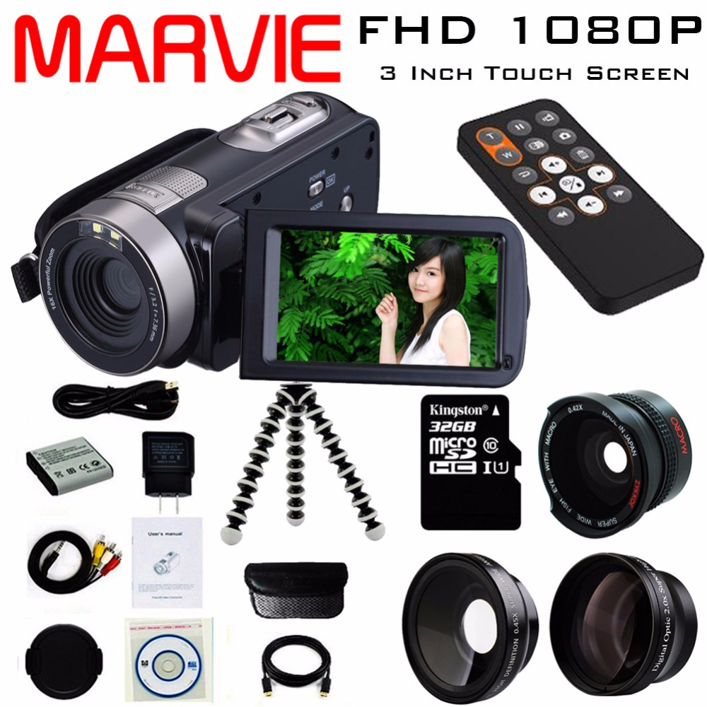 Marvie 2017 New Digital Camera Full HD 1080P 16x Zoom Recorder Camcorder Mini 3'' Touch DV DVR 24MP Video Camera 301 dv613a full hd 1080p digital video recorder camcorder 16x zoom digital dv camera kit black video camera up 16mp