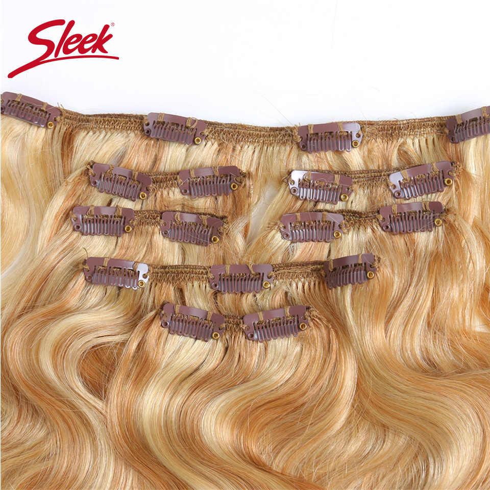 Elegancki kolorowe włosy 7 sztuk klip w doczepy z ludzkich włosów brazylijski ciało fala Bonde P27/613 kolor włosy pełne głowy zestawy remy włosy