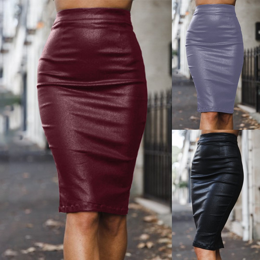 Casual PU Stitching Hip Skirt Womens Elastic Autumn High Waisted Skirt Zipper Stretch Bodycon Below Knee Skirt jupe femme #C