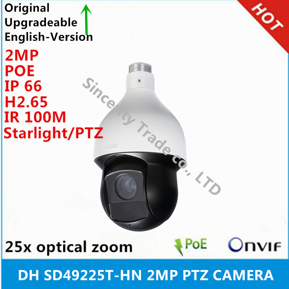 original Dahua DH SD49225T HN 2MP 25x Starlight Network Speed Dome Camera IR100M PTZ Network Camera