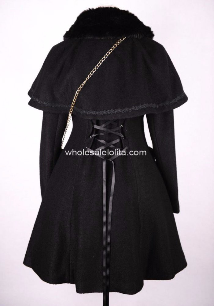 Стиль черная шерсть зимнее милое пальто Лолита пальто готическая лолита шерстяное пальто