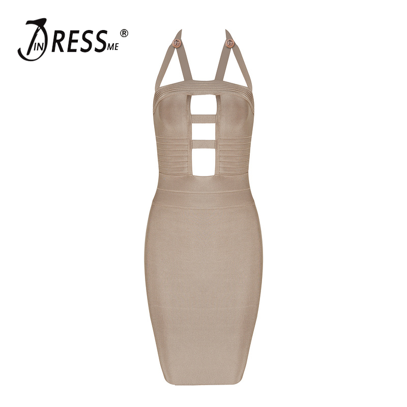 INDRESSME 2017 Summer New Solid Backless Spaghetti Strap Bandage Dress Mini Party Sexy Women Dress