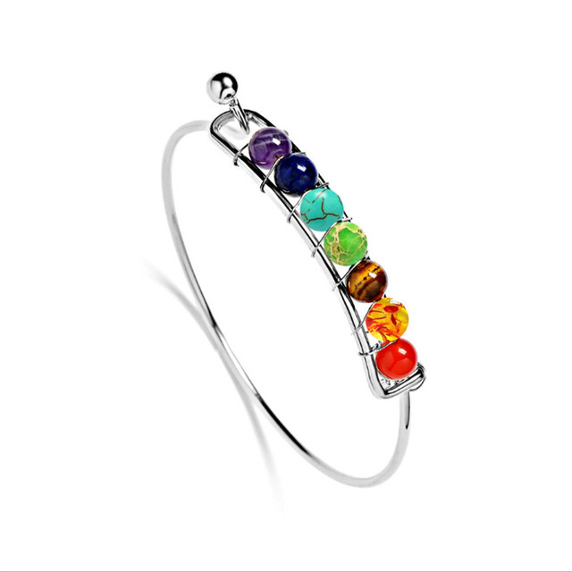 7 Chakra Stone Bangels Natural Stone Bracelet&Bangles Gold&Sliver Color Purple Crystal Bracelet Jewelry Women 1