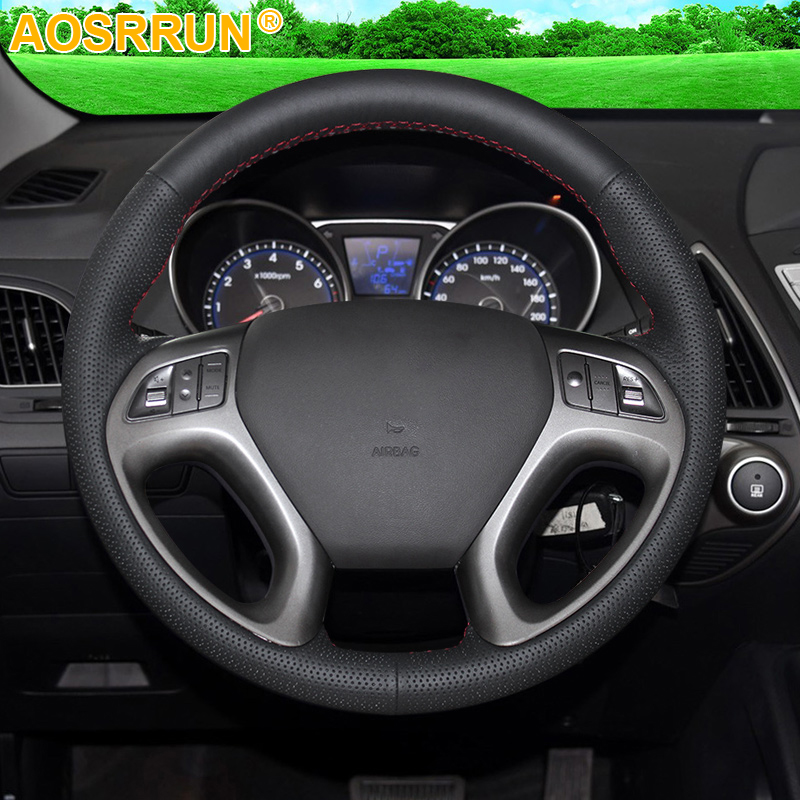 AOSRRUN Black Leather Hand-stitched Car Steering Wheel Cover for Hyundai ix35 Tucson 2 2011-2015 Car Accessories Styling