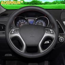 AOSRRUN черная кожаная мужская прошитая вручную чехол рулевого колеса автомобиля для Hyundai ix35 Tucson 2 2011-2015 автомобильные аксессуары для укладки в...