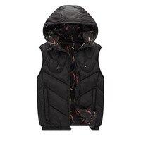 Winter 4XL 7XL 8XL plus size cotton men's vest male vest Coat snow winter Hooded Hat Detachable Both sides can be worn 150 kg