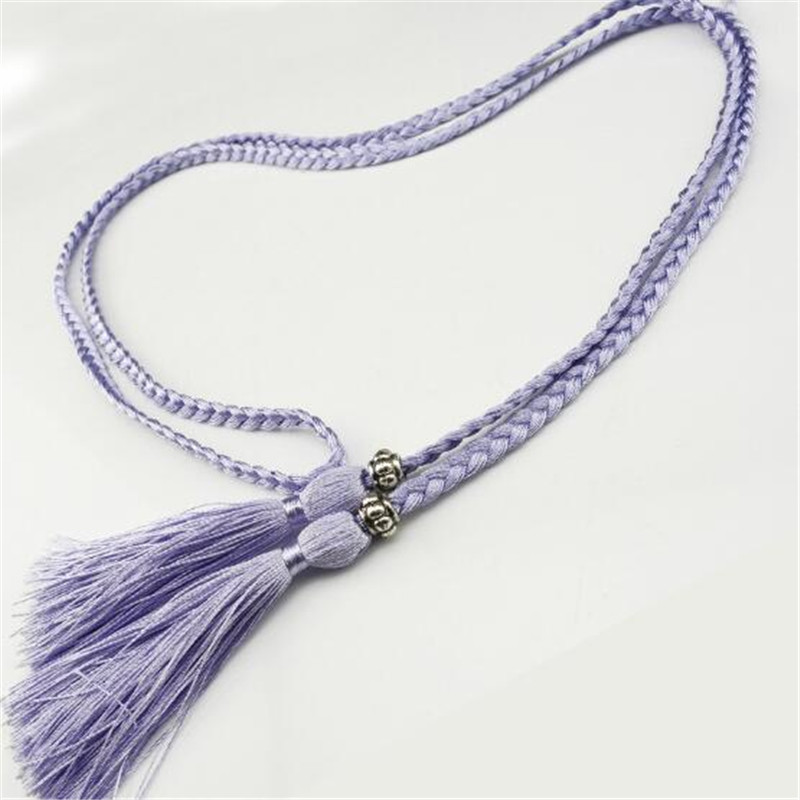Women's Belts Fashion Women Tassel Braided Waistband Twist Weaving Knitted Belt Decorated Rope For Dresses Shirt Brown Black Cotton String
