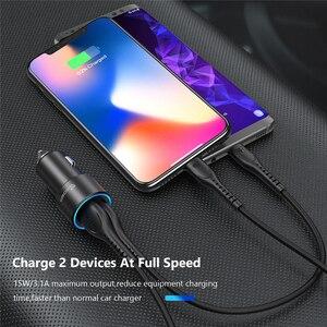 Image 3 - Tiegem Dual USB מטען לרכב 3.1A מתכת רכב מטען נייד טלפון רכב USB מטען אוטומטי תשלום 2 יציאת עבור סמסונג iPhone מתאם