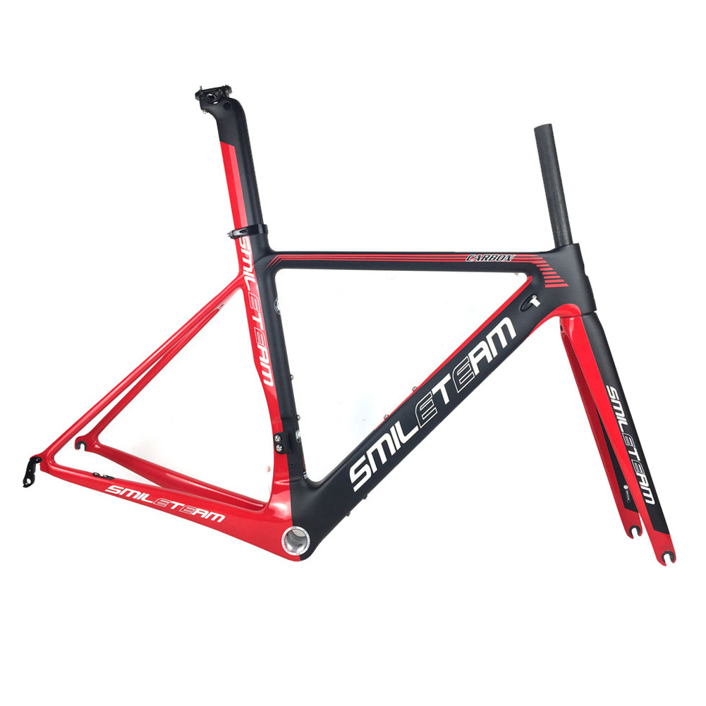 SmileTeam 2019 New T1000 Carbon Road Bike Frame BSA DI2 Racing Bicycle Carbon Frameset Size 49