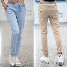 Женские повседневные штаны-шаровары размера плюс, черные, синие, хаки, Femme Pantalon, брюки-карго с эластичной резинкой на талии, свободные брюки, женские леггинсы