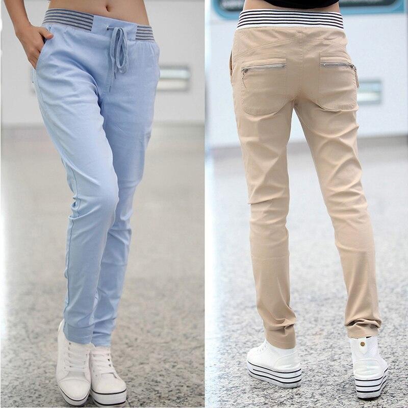 Women Casual Harem Pants Plus Size Black Blue Khaki Femme Pantalon Cargo Pants Elastic Waist Loose Trousers Ladies Leggings 2019