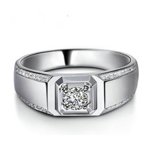 Handmade Wedding Men Ring 0.26+0.3ct Natural Diamond 18K White Gold  Engagement Diamond Jewelry