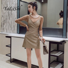 2 Piece Set Elegant Women Suit 2018 See-Through Tops Blouse and Spaghetti Strap Slim Dresses Crop Top and Dress Sets Vestidos butterfly sleeve button through crop blouse