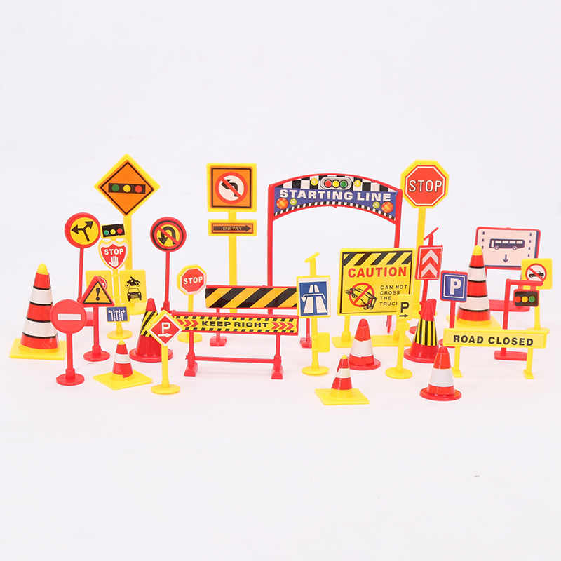 2-10cm Railway Accessories Road Signs Traffic Warning engineering sign train track best Christmas gift