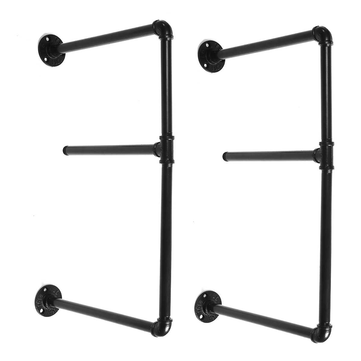 2 Pcs 2 Tier Shelf Wall Shelf Bracket Hanging Storage Shelves Iron Pipe Black Diy Pipe Shelves Furniture Home
