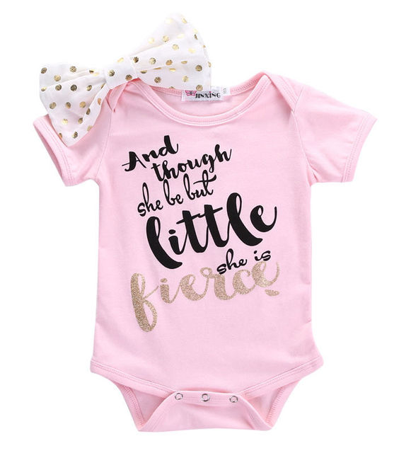 c4c32c8b2 Newborn Toddler Baby Girls Pink bow knot Romper Letter Printed Short ...