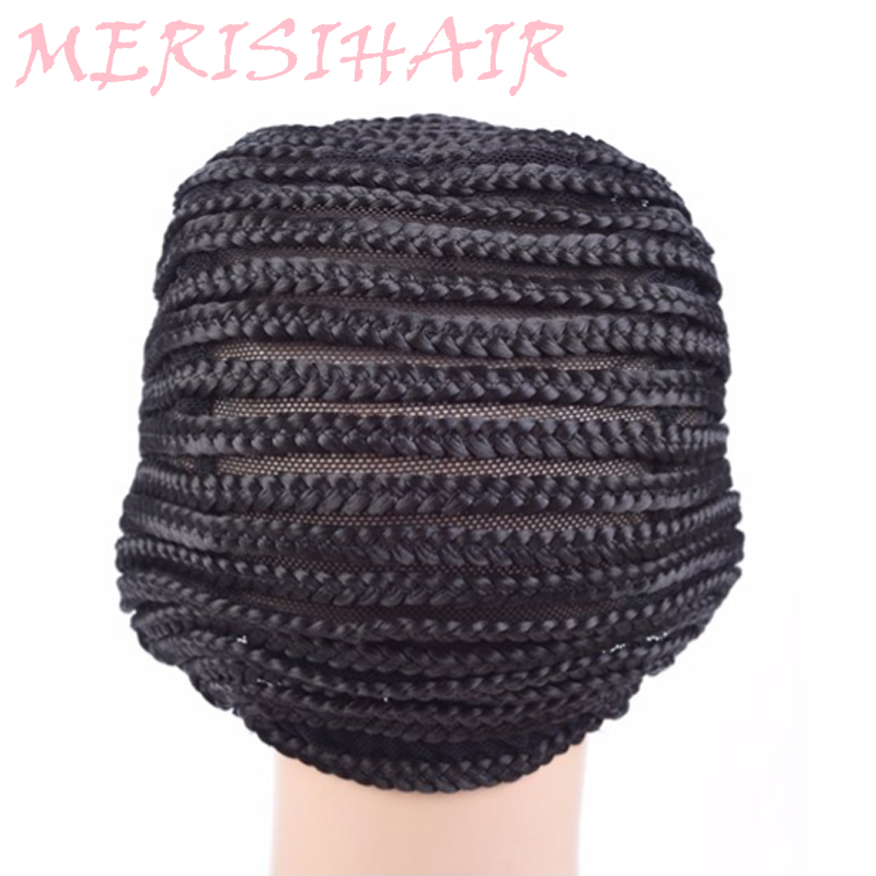 MERISI HAIR Super Elastic Cornrow Hat Crochet Wig Cap Making Wig High Temperature Synthetic Braided Hat Wig Net Black 1pc