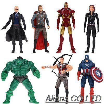 NEW 7pcs/lot The Avengers IRON MAN Nick Fury Hawkeye Captain America Hulk Thor Black Widow 16 cm action figure toys