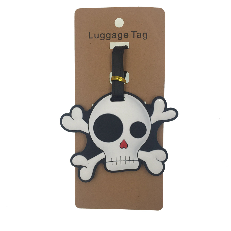 Cartoon Skull Luggage Tag Travel Accessories Women Silica Gel Suitcase ID Address Holder Baggage Boarding Tag Portable Label