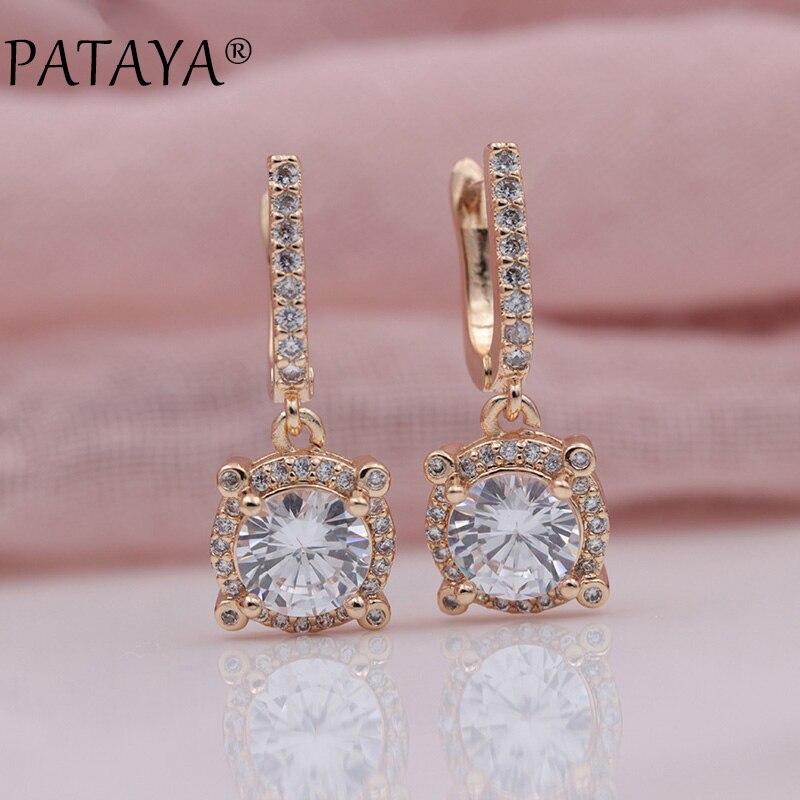 PATAYA New Micro-wax Inlay White Natural Zircon Dangle Earrings Women Wedding Party 585 Rose Gold Fashion Luxury Fine Jewelry